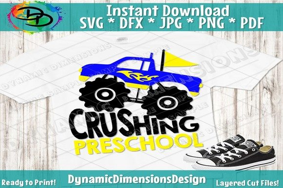 Download Free Monster Truck Pre K Preschool Graphic By Dynamicdimensions for Cricut Explore, Silhouette and other cutting machines.