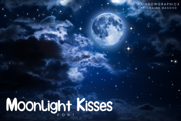 Print on Demand: Moonlight Kisses Manuscrita Fuente Por RainbowGraphicx