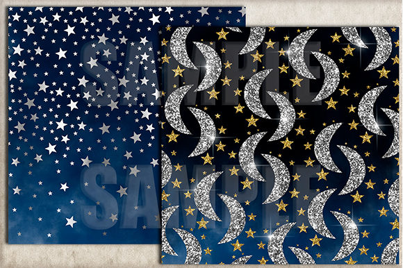 Moons and Stars Digital Paper Graphic Backgrounds By paperart.bymc - Image 3