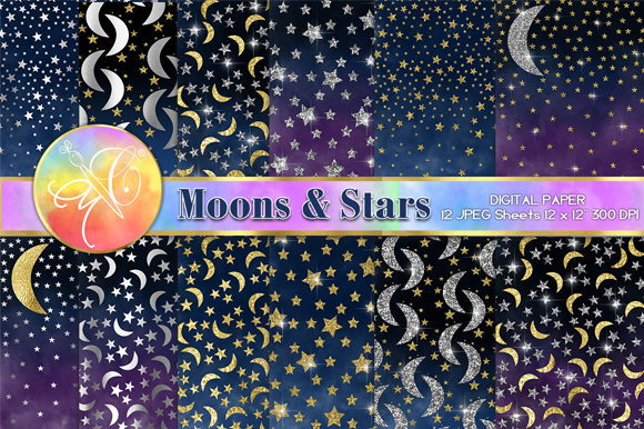 Moons and Stars Digital Paper Graphic Backgrounds By paperart.bymc