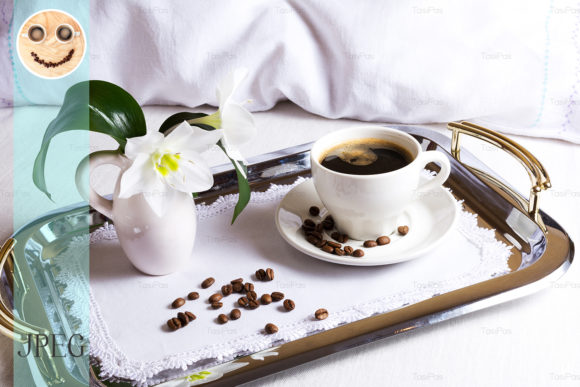Print on Demand: Morning Coffee on Silver Tray Graphic Food & Drinks By TasiPas