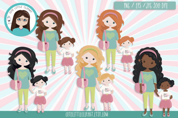 Mother's Day Clipart Graphic Illustrations By CuteLittleClipart