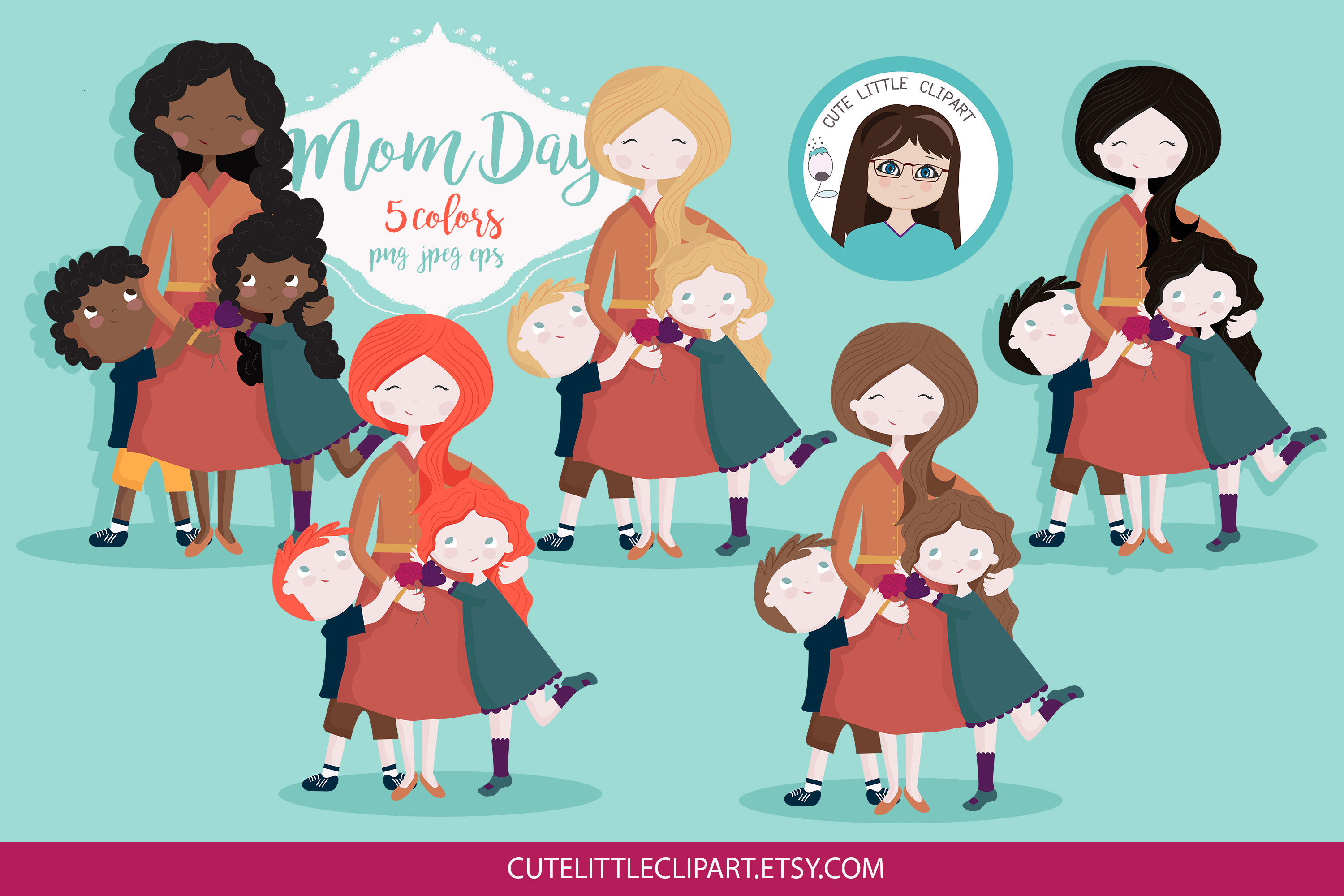 Download Free Mother S Day Clipart Graphic By Cutelittleclipart Creative Fabrica for Cricut Explore, Silhouette and other cutting machines.