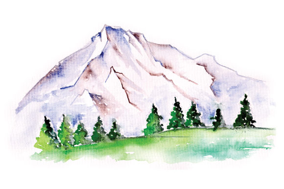 Download Free Mountain Scene In Watercolor Svg Cut File By Creative Fabrica for Cricut Explore, Silhouette and other cutting machines.