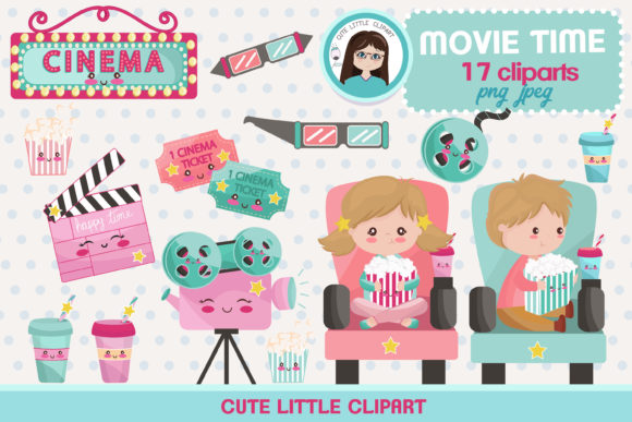 Movie Time Kawaii Clipart Graphic Illustrations By CuteLittleClipart