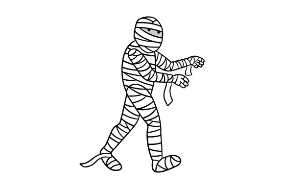 Download Free Mummy Male In Black White Cartoonish Svg Cut File By for Cricut Explore, Silhouette and other cutting machines.