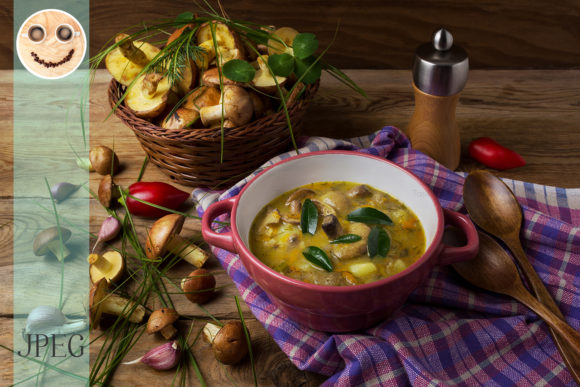 Print on Demand: Mushroom Soup in Red Bowl and Wicker Bas Graphic Food & Drinks By TasiPas