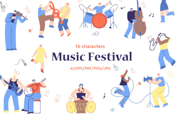 Download Free Music Festival Flat Collection Graphic By Teravector Creative for Cricut Explore, Silhouette and other cutting machines.