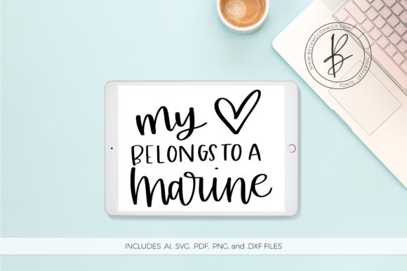 Download Free My Heart Belongs To A Marine Graphic By Beckmccormick Creative for Cricut Explore, Silhouette and other cutting machines.