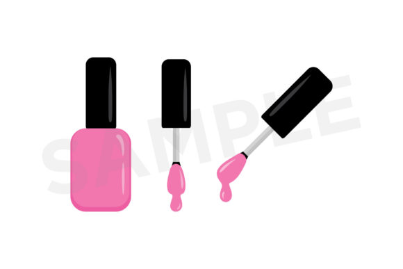 Print on Demand: Nail Polish Bottle & Brush Clip Art Set Graphic Objects By Running With Foxes - Image 5