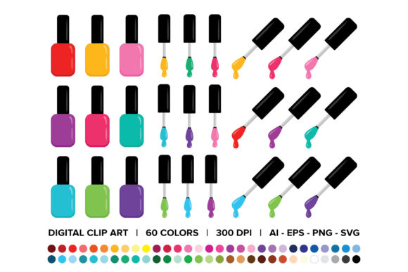 Print on Demand: Nail Polish Bottle & Brush Clip Art Set Graphic Objects By Running With Foxes