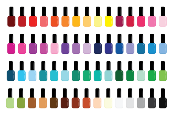 Print on Demand: Nail Polish Bottle & Brush Clip Art Set Graphic Objects By Running With Foxes - Image 2
