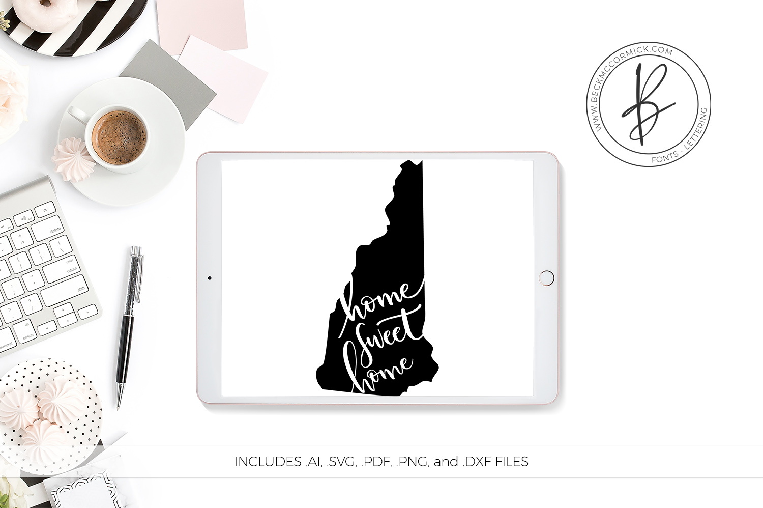 Download Free New Hampshire Home Sweet Home Graphic By Beckmccormick for Cricut Explore, Silhouette and other cutting machines.
