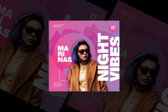 Night Vibes Party Flyer Graphic Print Templates By qohhaarqhaz