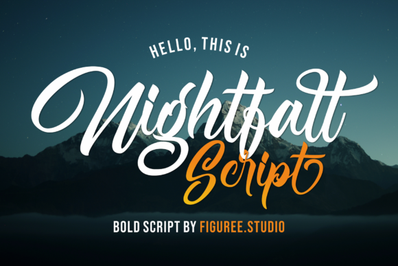 Print on Demand: Nightfall Script & Handwritten Font By figuree studio