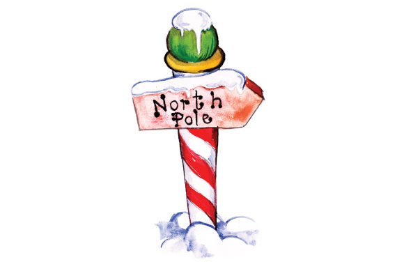 North Pole Sign in Watercolor Christmas Craft Cut File By Creative Fabrica Crafts