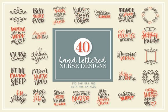 Download Free Nurse Bundle Hand Lettered Designs Graphic By Justina Tracy for Cricut Explore, Silhouette and other cutting machines.