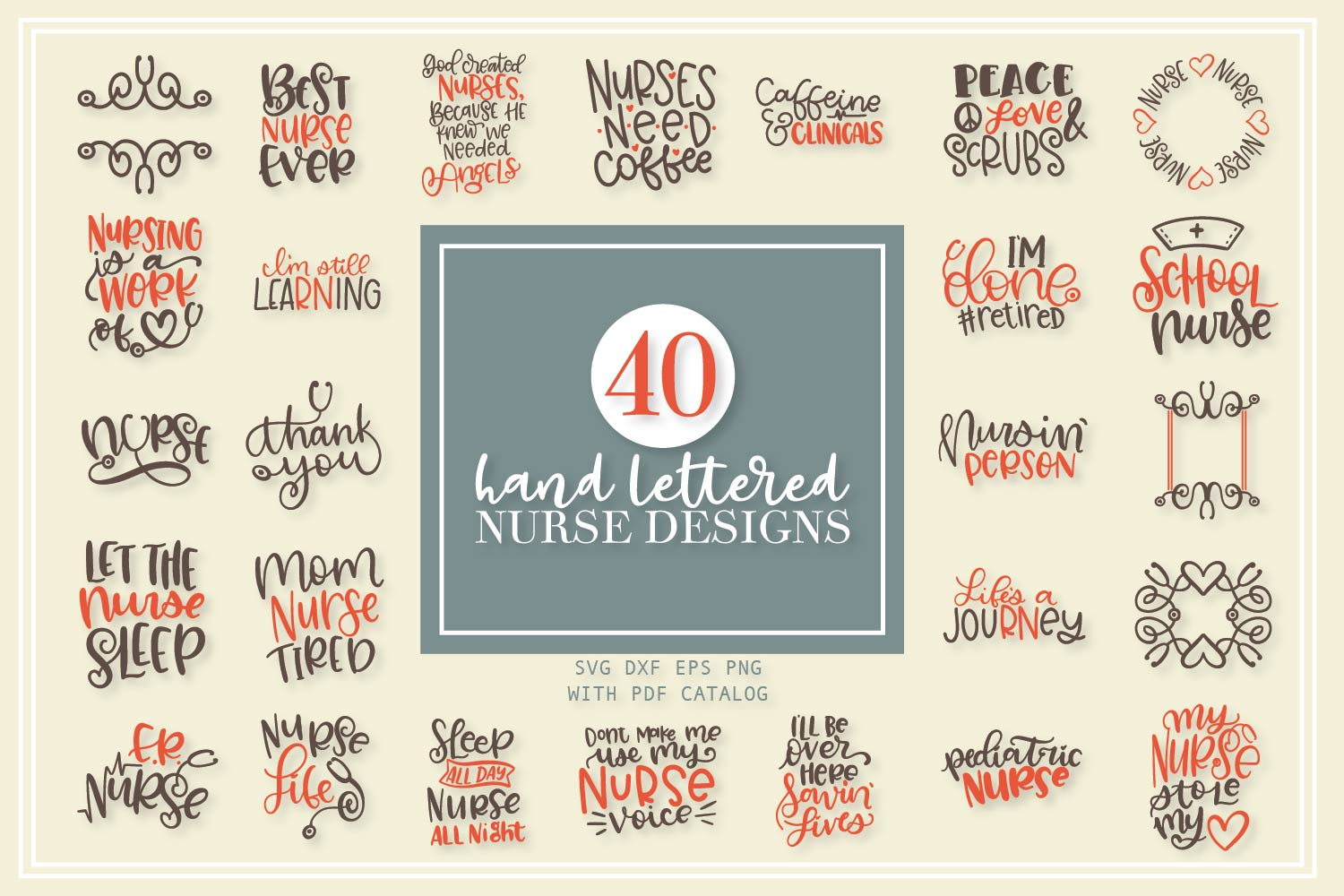 Download Free Nurse Bundle Hand Lettered Designs Graphic By Justina Tracy SVG Cut Files