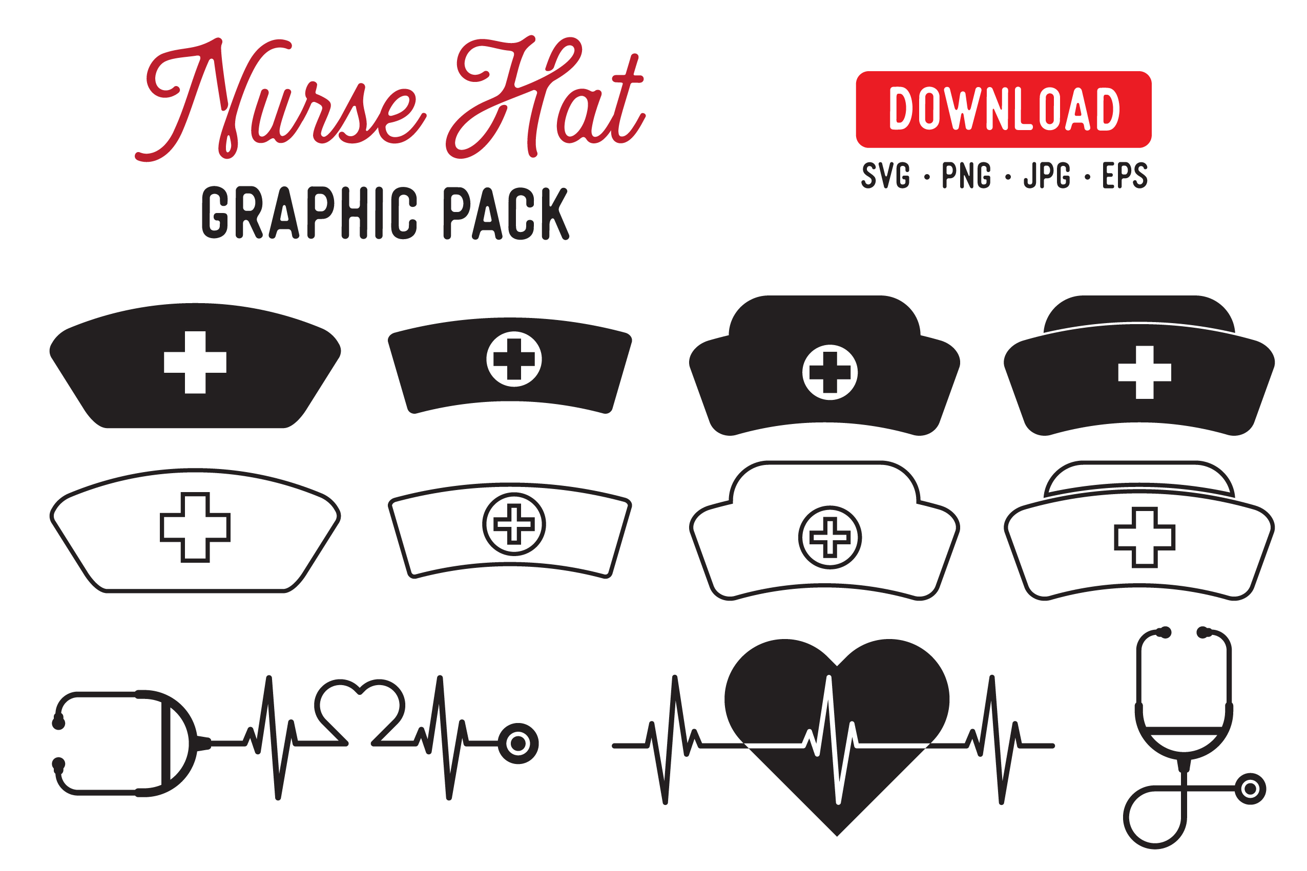 Download Free Nurse Hat Graphic Pack Graphic By The Gradient Fox Creative for Cricut Explore, Silhouette and other cutting machines.