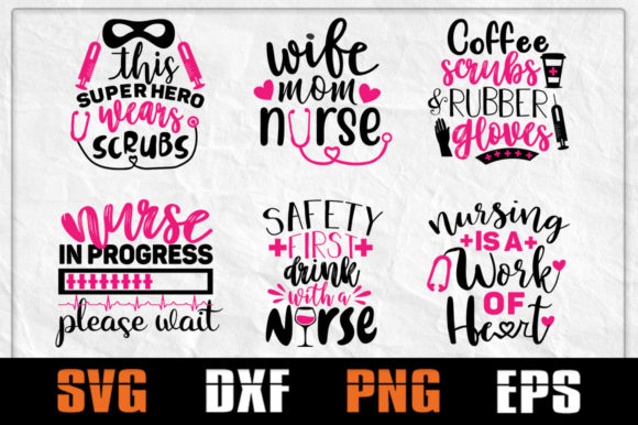 Print on Demand: Nurse SVG Bundle, Nurse Life Graphic Crafts By Pathfinder - Image 1