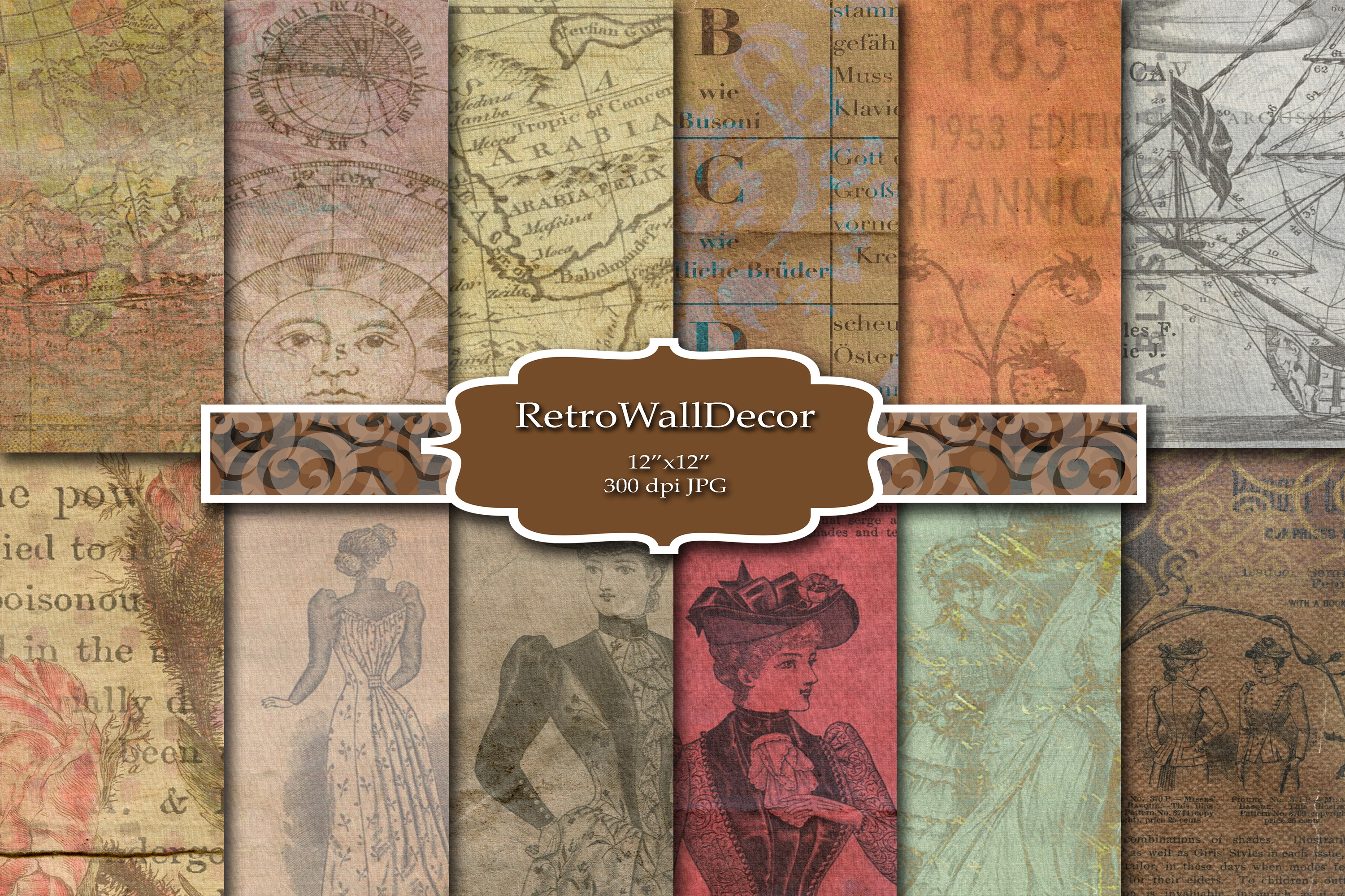 Download Free Old Digital Paper Graphic By Retrowalldecor Creative Fabrica SVG Cut Files