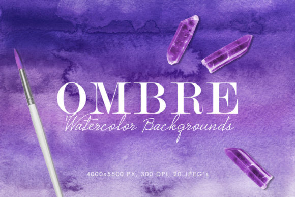 Print on Demand: Ombre Watercolor Backgrounds Graphic Backgrounds By ArtistMef
