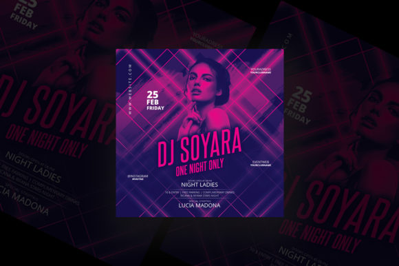 One Night Party Flyer Graphic Print Templates By qohhaarqhaz