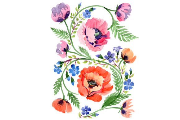 Print on Demand: Ornament Orange Poppies Watercolor Graphic Illustrations By MyStocks