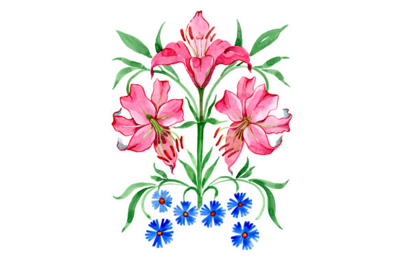 Print on Demand: Ornament Red Lilies Watercolor Grafik Illustrationen von MyStocks