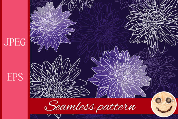 Print on Demand: Outline Dahlia Flowers Pattern. Graphic Patterns By TasiPas