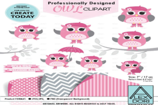 Owl Girl  Clipart Baby Pink and Gray Owl Graphic By adlydigital