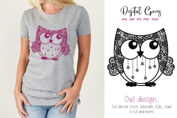 Download Free Owl Papercut Design Graphic By Digital Gems Creative Fabrica for Cricut Explore, Silhouette and other cutting machines.