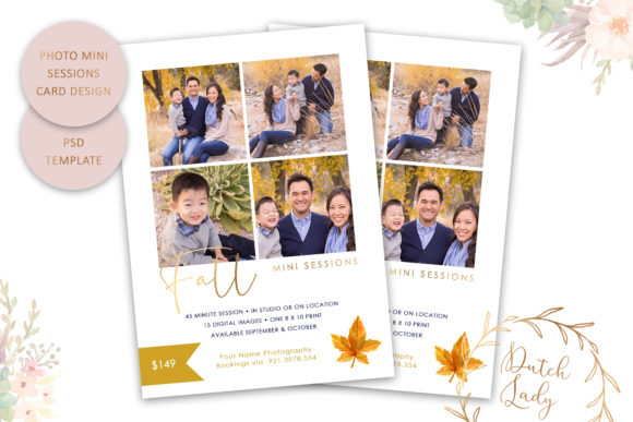 Print on Demand: PSD Photo Session Card Template #47 Graphic Print Templates By daphnepopuliers