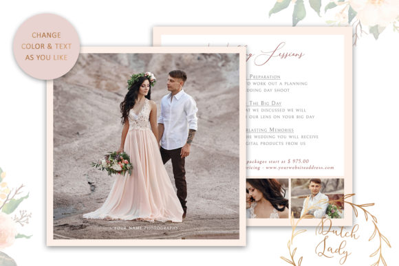 Download Free Wedding Photo Card Template 5 Graphic By Daphnepopuliers for Cricut Explore, Silhouette and other cutting machines.