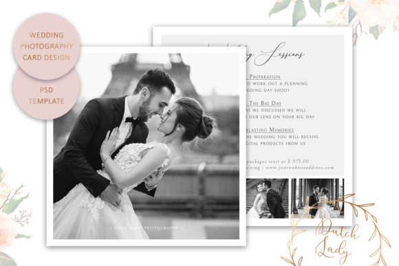 Print on Demand: PSD Wedding Photo Card Template #5 Graphic Print Templates By daphnepopuliers
