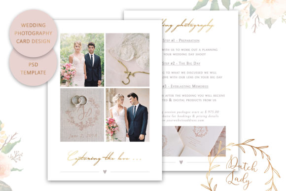 Print on Demand: PSD Wedding Photography Card Template #6 Graphic Print Templates By daphnepopuliers