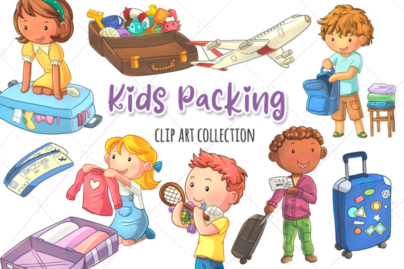 Print on Demand: Packing for a Trip Clip Art Collection Graphic Illustrations By Keepinitkawaiidesign