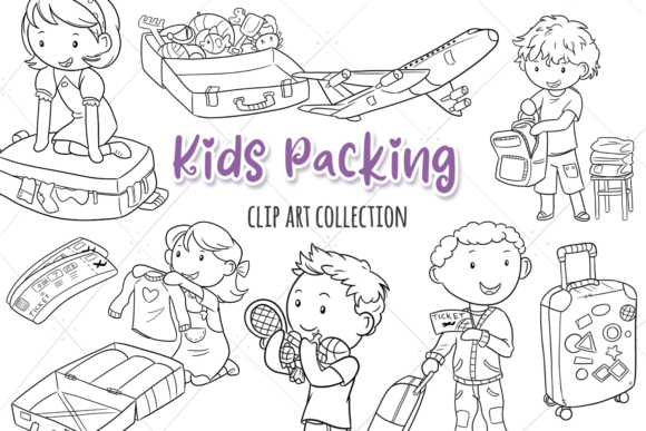 Print on Demand: Packing for a Trip Digital Stamps Graphic Illustrations By Keepinitkawaiidesign - Image 1