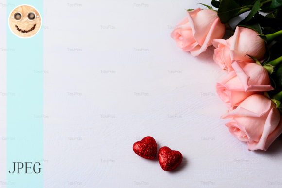 Print on Demand: Pale Pink Roses and Red Glitter Hearts Graphic Holidays By TasiPas