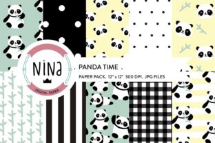 Download Free Panda Digital Paper Panda Bear Wrapping Graphic By Nina Prints for Cricut Explore, Silhouette and other cutting machines.