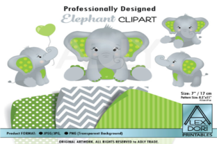 Peanut Elephant Clipart in Lime Green Graphic By adlydigital