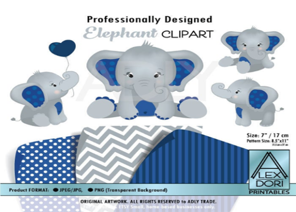 Download Free Peanut Elephant Clipart In Navy Blue Graphic By Adlydigital Creative Fabrica for Cricut Explore, Silhouette and other cutting machines.