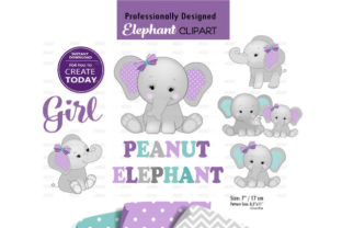 Peanut Elephant Mommy and Baby Clip Art Graphic By adlydigital