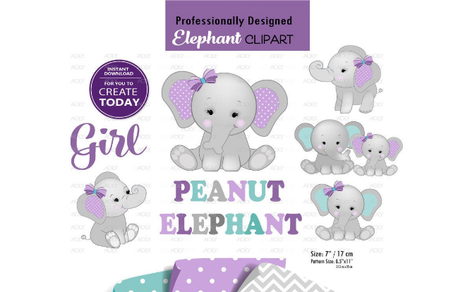 Download Free Peanut Elephant Mommy And Baby Clip Art Graphic By Adlydigital for Cricut Explore, Silhouette and other cutting machines.