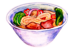 Pho Bowl in Water Color Style Food & Drinks Craft Cut File By Creative Fabrica Crafts