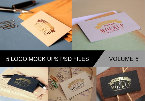 Print on Demand: Photo Realistic Mock-ups Set of 5 V5 Graphic Product Mockups By bywahtung - Image 1