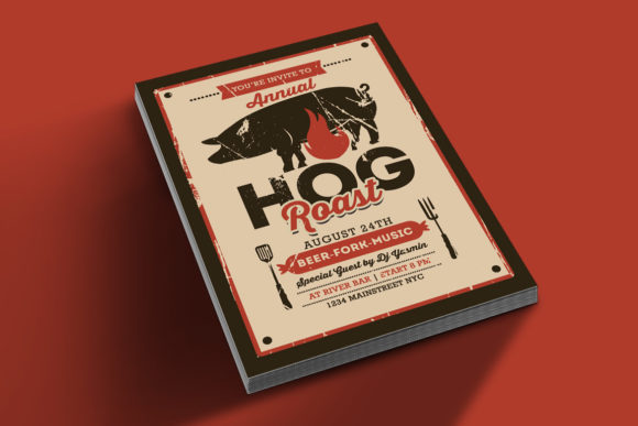 Download Free Pig Roast Event Flyer Graphic By Muhamadiqbalhidayat Creative Fabrica for Cricut Explore, Silhouette and other cutting machines.