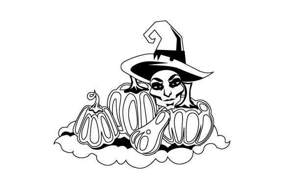 Download Free Pile Of Pumpkins With A Scary Witch Head Instead Of One Of The for Cricut Explore, Silhouette and other cutting machines.