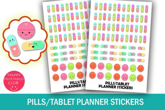 Print on Demand: Pills/Tablet Medicine Planner Stickers Graphic Crafts By Happy Printables Club
