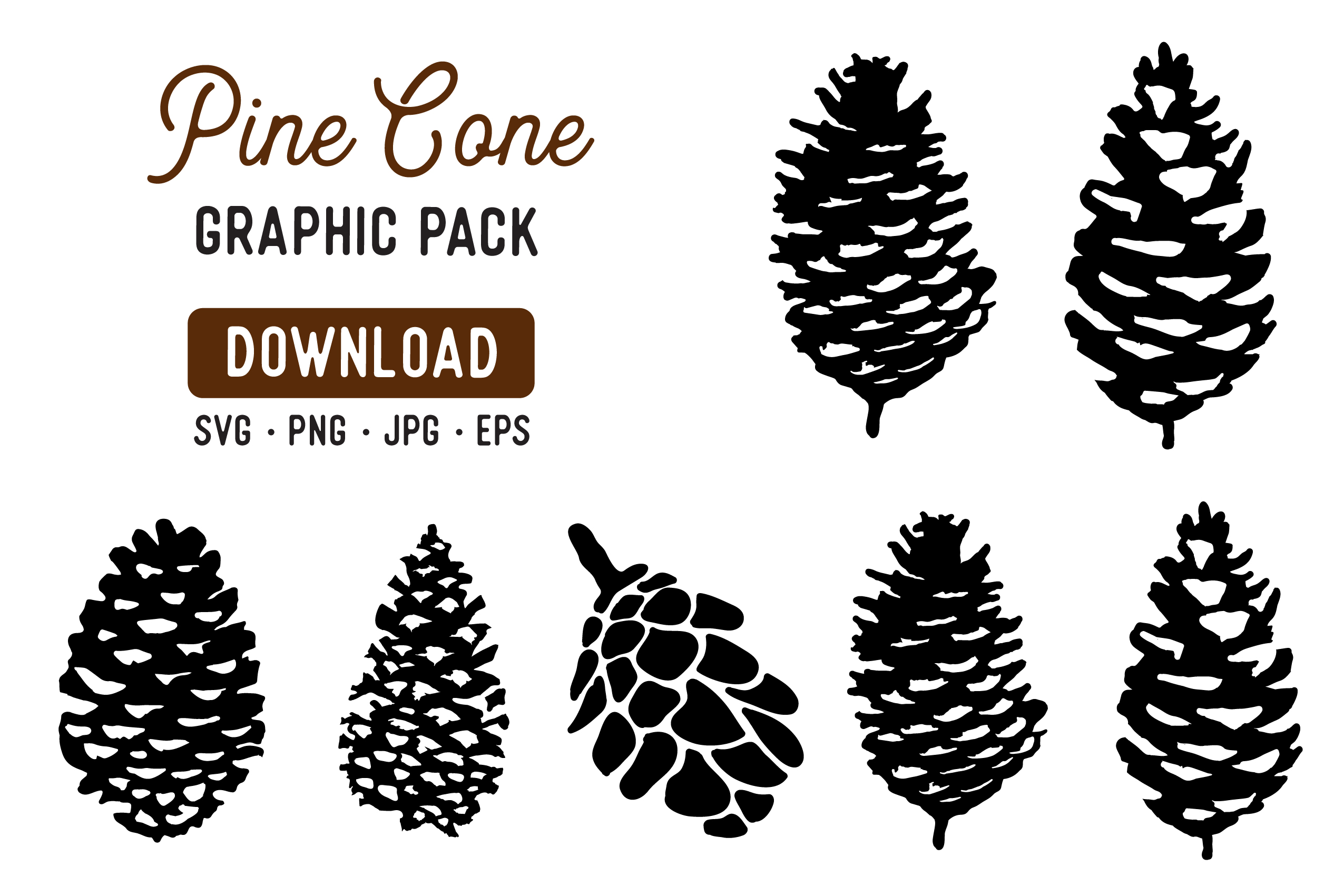Download Free Pine Cone Stencil Graphic Pack Grafico Por The Gradient Fox for Cricut Explore, Silhouette and other cutting machines.